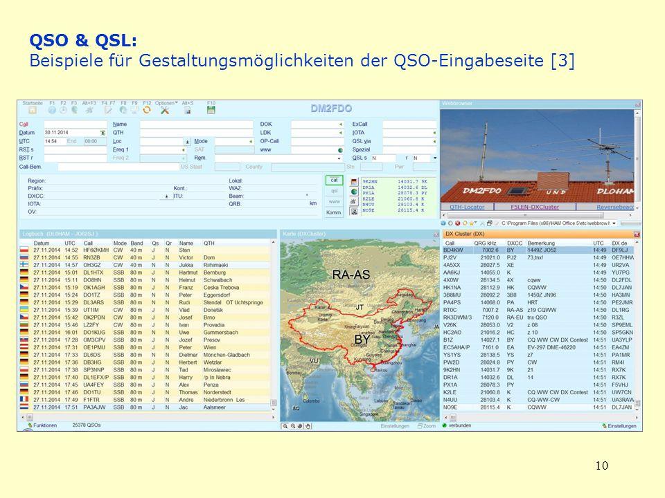 QSO & QSL: Beispiele für Gestaltungsmöglichkeiten der QSO-Eingabeseite [3]